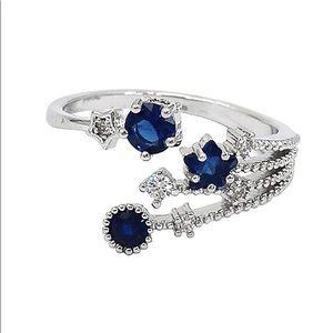 Blue shining crystal meteor ring